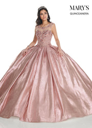 Shimmer Glitter Cap Sleeve Quinceanera Dress by Mary's Bridal MQ2090-Quinceanera Dresses-ABC Fashion