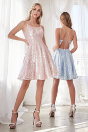Short A-line Allover Sequin Dress by Cinderella Divine AM398