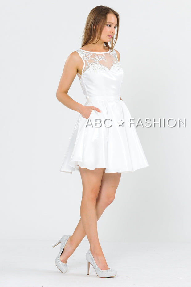 Short A-line Dress with Embroidered Illusion Top by Poly USA 8318-Short Cocktail Dresses-ABC Fashion