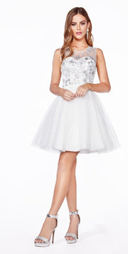 Short A-line Glitter Dress by Cinderella Divine CD20