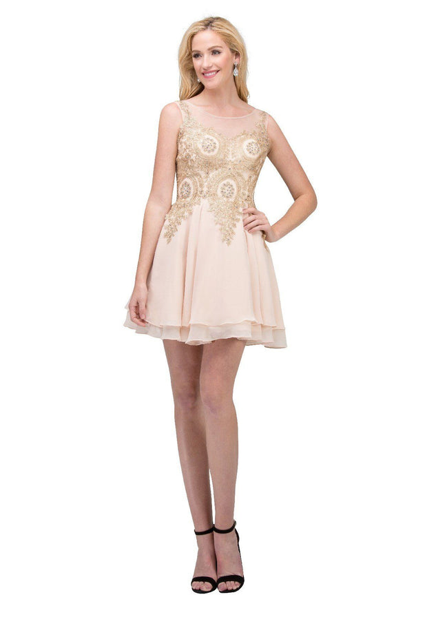Short A-line Dress with Gold Lace Applique by Star Box 6310-Short Cocktail Dresses-ABC Fashion