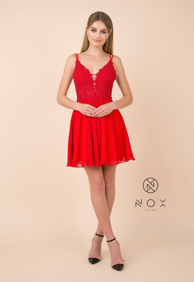 Short A-line Dress with V-Neck Lace Bodice by Nox Anabel G679-Short Cocktail Dresses-ABC Fashion