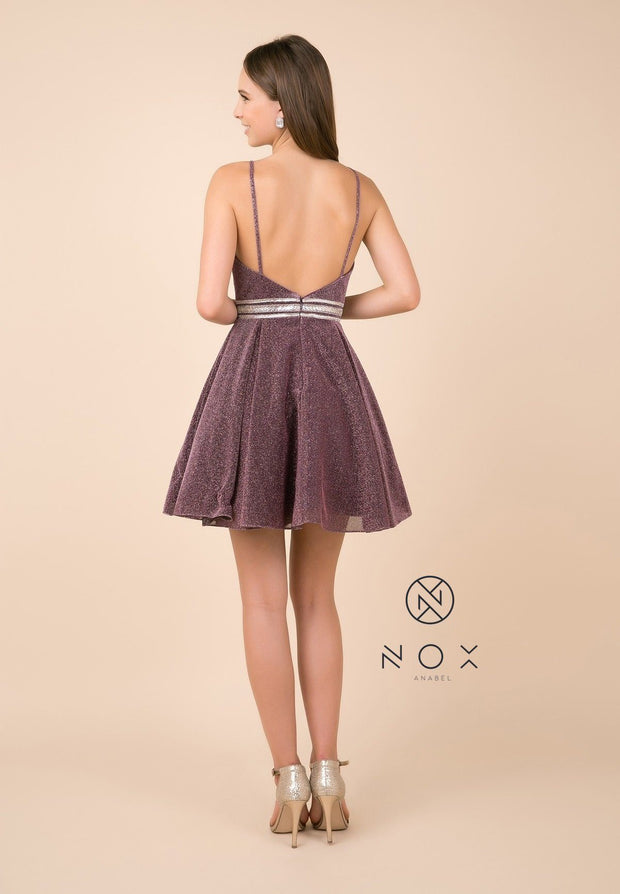 Short A-line Metallic Glitter Dress with V-Neckline by Nox Anabel Y678-Short Cocktail Dresses-ABC Fashion