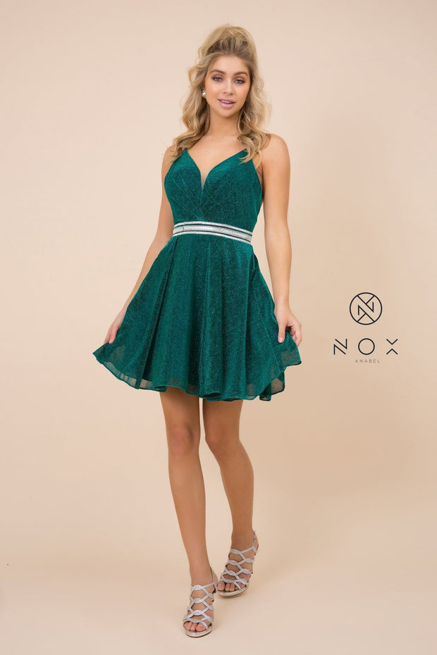 Short A-line Metallic Glitter Dress with V-Neckline by Nox Anabel Y678