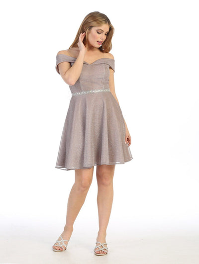 Short A-line Off Shoulder Metallic Dress by Celavie 6506S