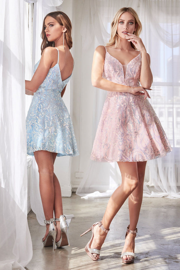 Short A-line Sequin Print Dress by Cinderella Divine CB062S