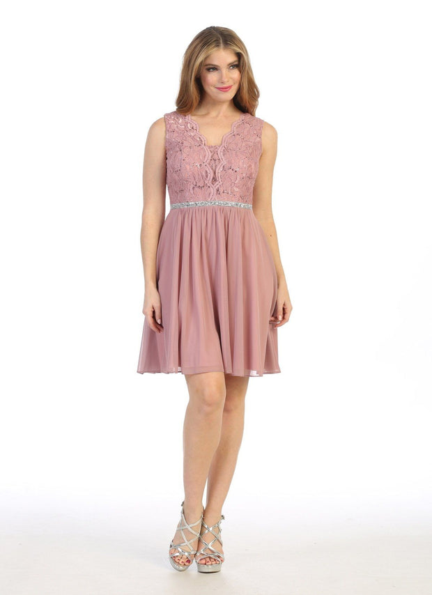 Short A-line Sleeveless Dress with Lace Bodice by Celavie 6467S