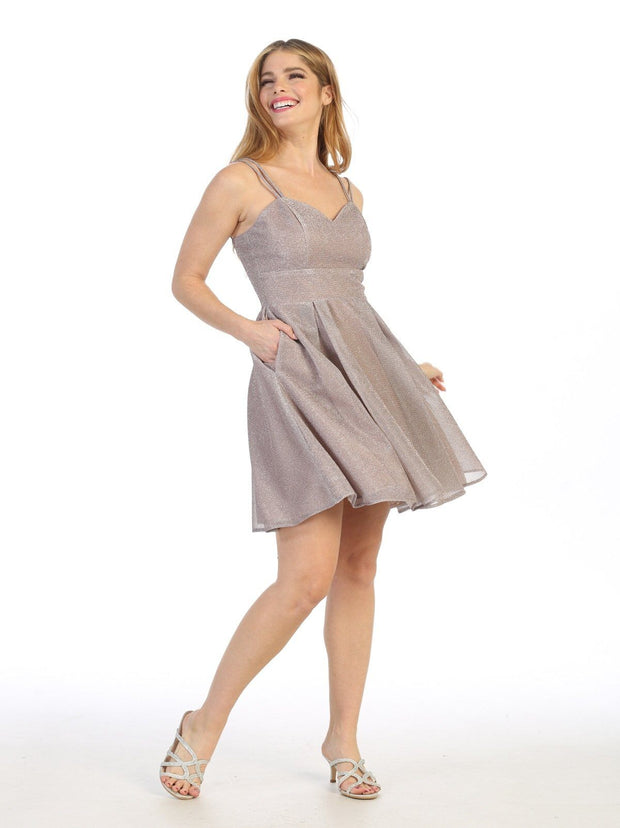 Short A-line Sweetheart Metallic Dress by Celavie 6505S