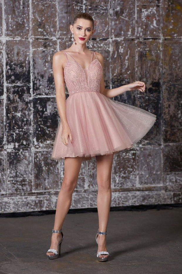 Short Beaded Dress with Glitter Skirt by Cinderella Divine CD0148