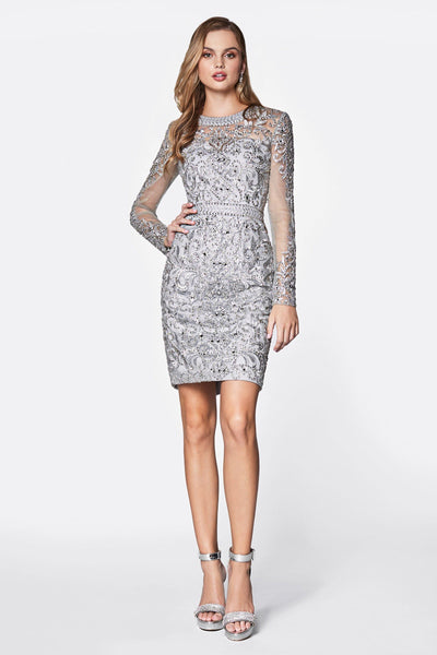 Short Beaded Dress with Sheer Sleeves by Cinderella Divine J776-Short Cocktail Dresses-ABC Fashion