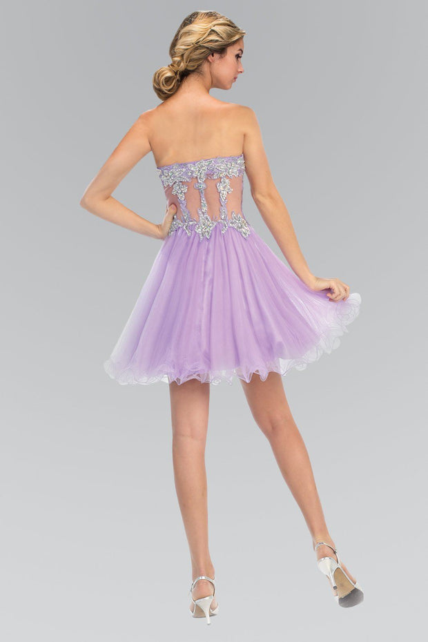 Short Beaded Dress with Sheer Waistline by Elizabeth K GS1106-Short Cocktail Dresses-ABC Fashion