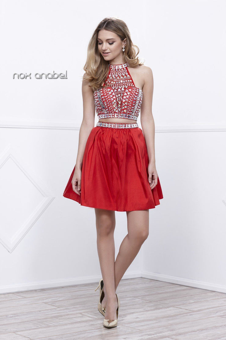 Short Beaded Halter Crop Top Dress by Nox Anabel 6053-Short Cocktail Dresses-ABC Fashion