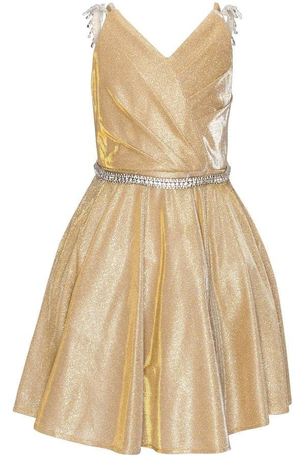 Short Beaded Metallic Glitter Dress by Cinderella Couture