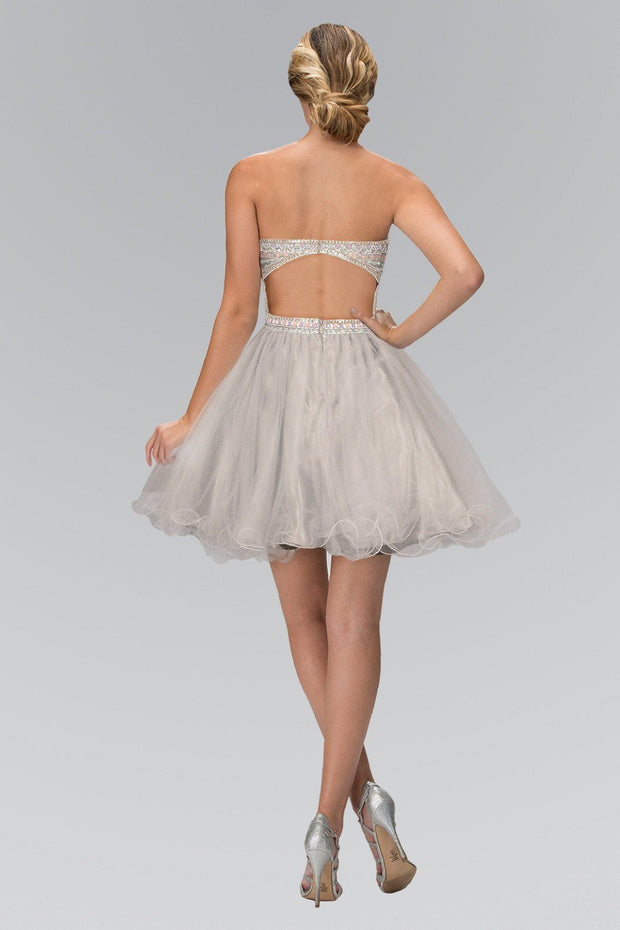 Short Beaded Strapless Dress with Ruffled Skirt by Elizabeth K GS1458-Short Cocktail Dresses-ABC Fashion