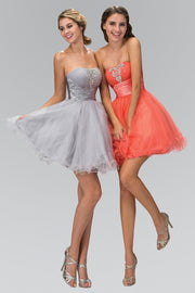Short Beaded Strapless Ruffled Tulle Dress by Elizabeth K GS1051-Short Cocktail Dresses-ABC Fashion