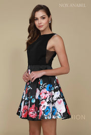 Short Black Dress with Floral Print Skirt by Nox Anabel Q606-Short Cocktail Dresses-ABC Fashion