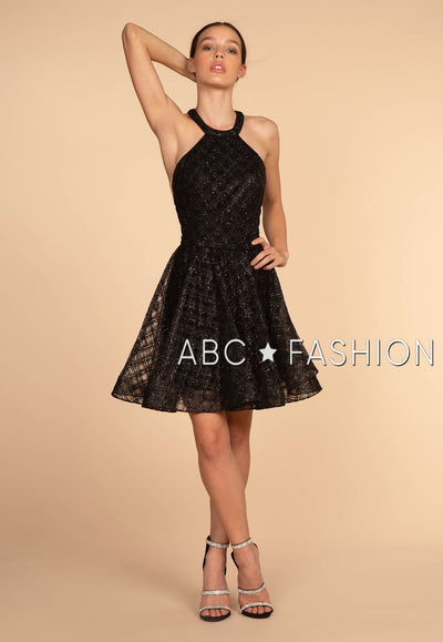Short Black Glitter Dress with Racer Front by Elizabeth K GS1631-Short Cocktail Dresses-ABC Fashion
