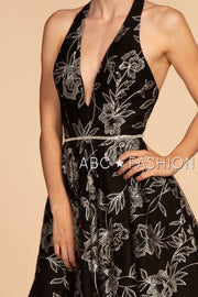 Short Black Halter Dress with Silver Glitter Print by Elizabeth K GS1629-Short Cocktail Dresses-ABC Fashion