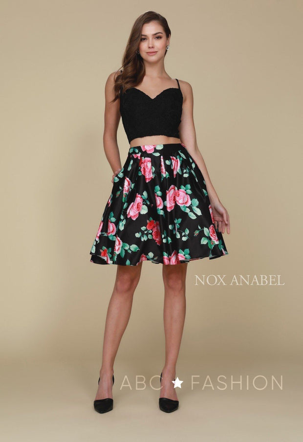 Short Black Two Piece Dress with Floral Print Skirt by Nox Anabel Q604-Short Cocktail Dresses-ABC Fashion