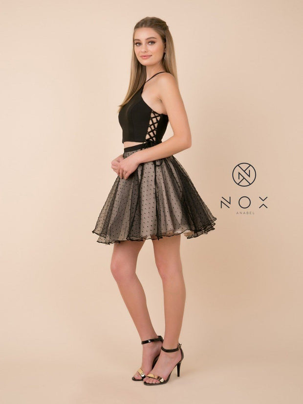 Short Black Two-Piece Dress with Polka Dot Skirt by Nox Anabel M659-Short Cocktail Dresses-ABC Fashion