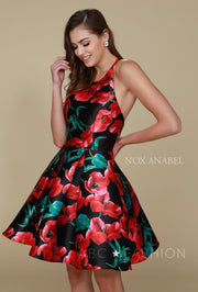 Short Black/Red Floral Print Dress with Open Back by Nox Anabel Q605-Short Cocktail Dresses-ABC Fashion