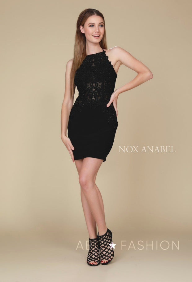 Short Bodycon Dress with Embroidered Bodice by Nox Anabel A628-Short Cocktail Dresses-ABC Fashion