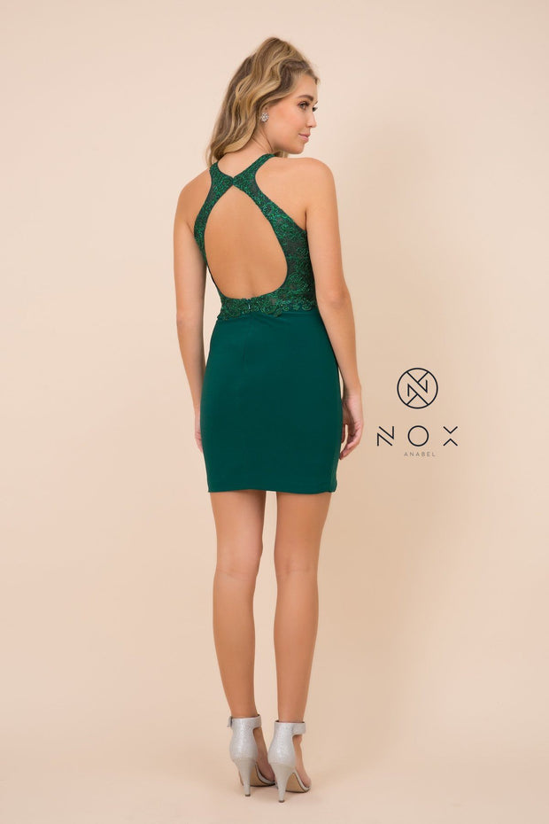 Short Bodycon Halter Dress with Beaded Appliques by Nox Anabel E697