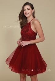 Short Burgundy Dress with Embroidered Bodice by Nox Anabel A614-Short Cocktail Dresses-ABC Fashion