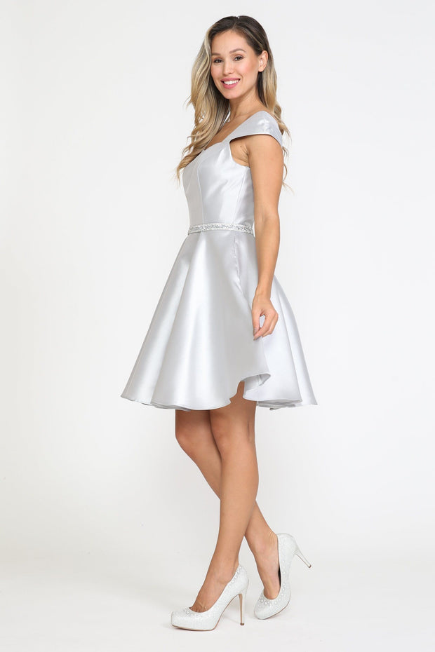 Short Cap Sleeve Mikado Dress by Poly USA 8416