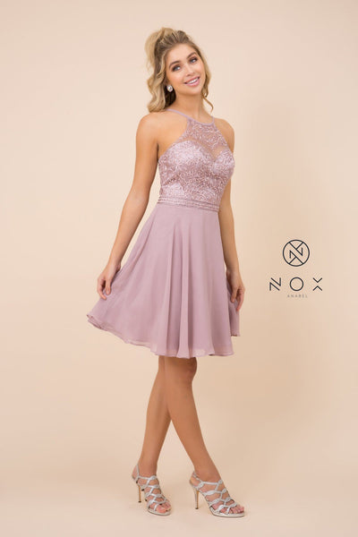 Short Chiffon Dress with Embroidered Bodice by Nox Anabel Y629