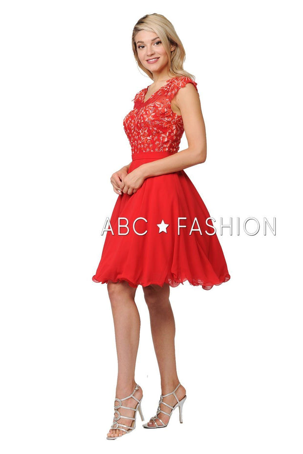 Short Chiffon Dress with Floral Lace Appliques by Poly USA 8094-Short Cocktail Dresses-ABC Fashion