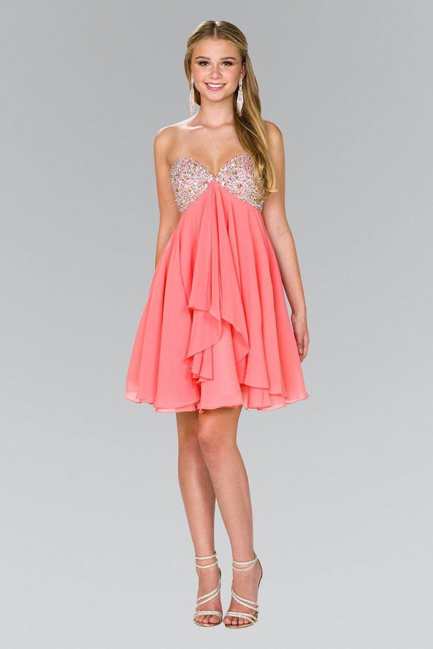 Short Chiffon Dress with Jeweled Bodice by Elizabeth K GS1142-Short Cocktail Dresses-ABC Fashion