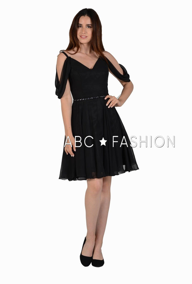 Short Cold Shoulder Dress with Beaded Waistband by Poly USA 8190-Short Cocktail Dresses-ABC Fashion