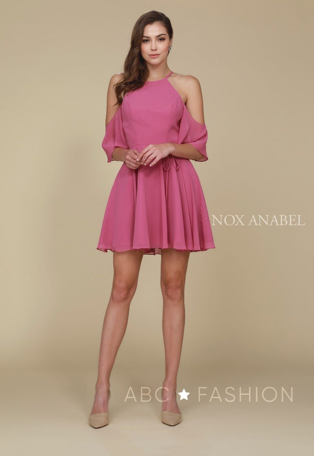 Short Cold Shoulder Dress with Flutter Sleeves by Nox Anabel T667-Short Cocktail Dresses-ABC Fashion