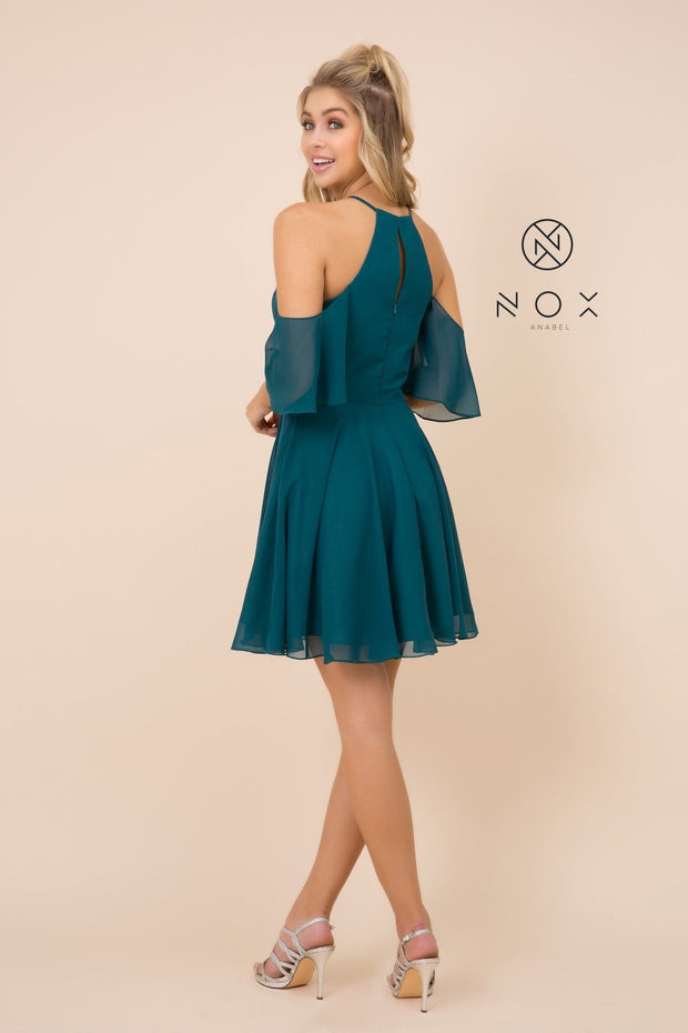 Short Cold Shoulder Dress with Flutter Sleeves by Nox Anabel T667