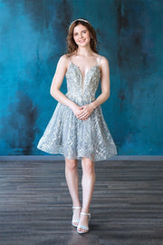 Short Deep Sweetheart Glitter Dress by Calla Collection