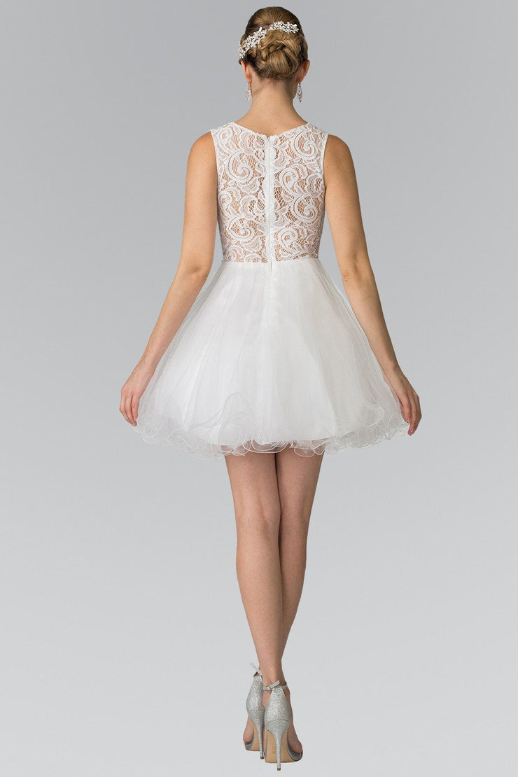 Short Dress with Lace Bodice and Sheer Waistline by Elizabeth K GS1427-Short Cocktail Dresses-ABC Fashion
