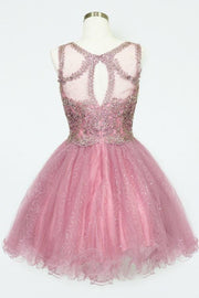 Short Embroidered Dress with Sequin Tulle Skirt by Calla Collection