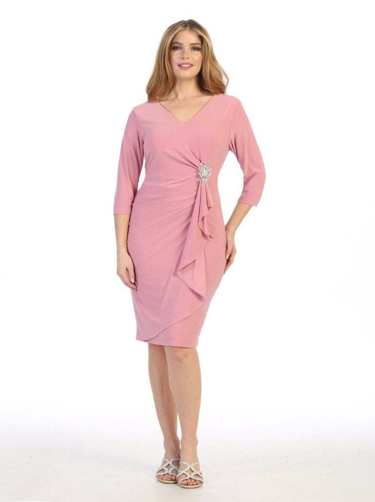 Short Faux Wrap Dress with Mid-Sleeves by Celavie 6412