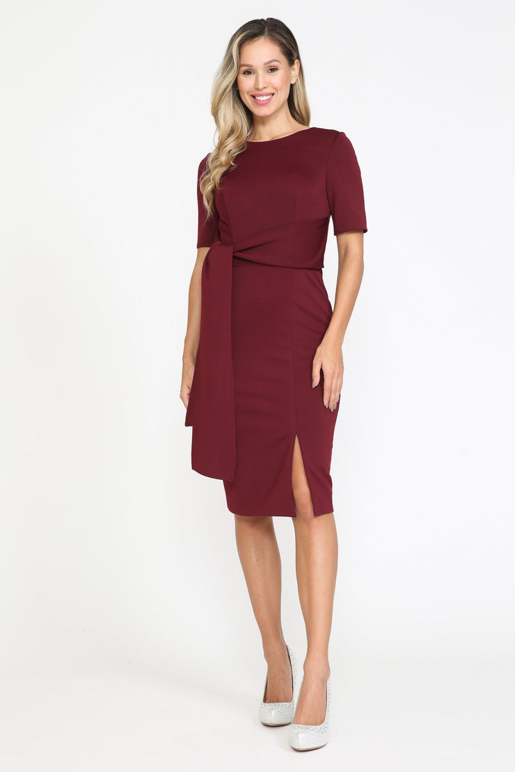 Short Fitted Dress with Short Sleeves by Poly USA 8524