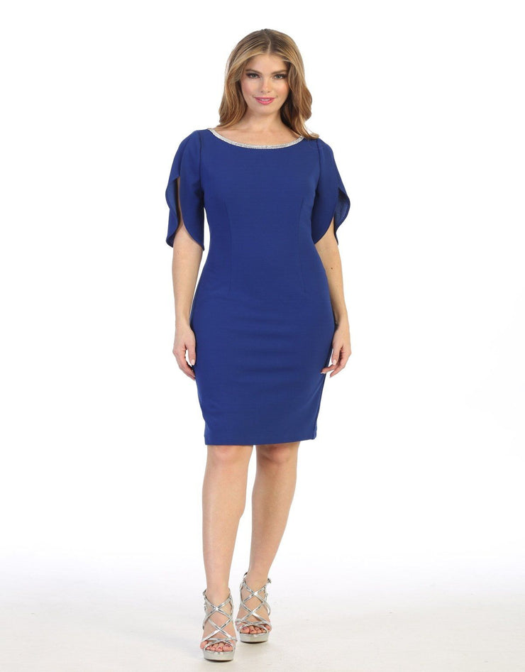 Short Fitted Dress with Slit Sleeves by Celavie 6498