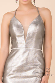Short Fitted Metallic Dress with Corset Back by Nox Anabel M690-Short Cocktail Dresses-ABC Fashion