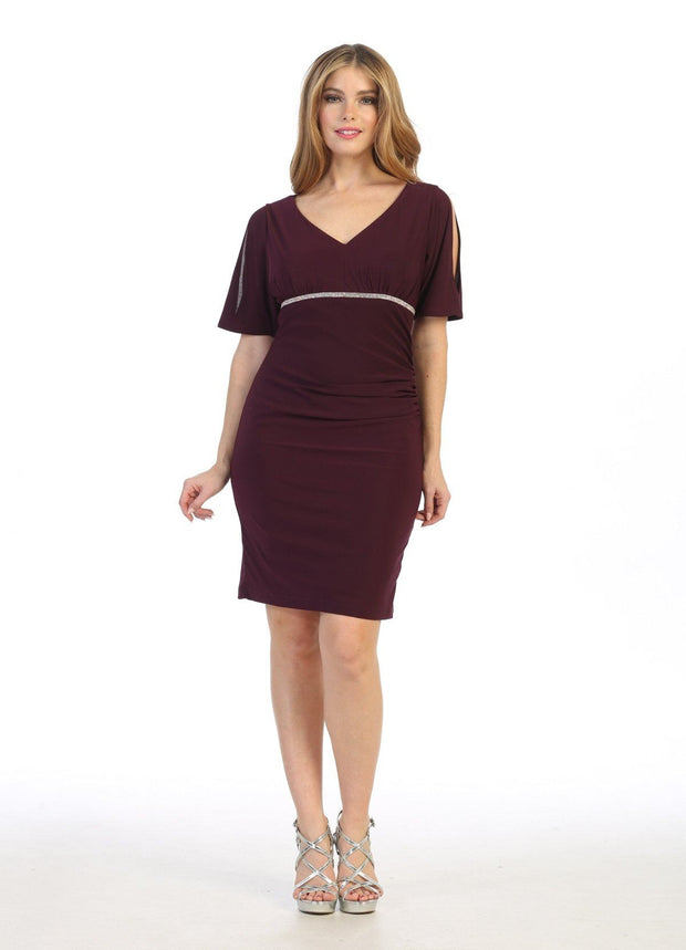 Short Fitted V-Neck Dress with Slit Sleeves by Celavie 6500