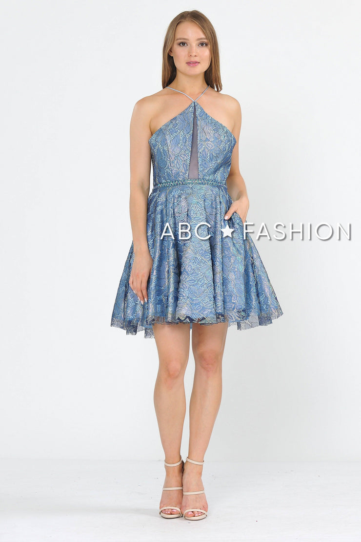 Short Floral Glitter Dress with Illusion Cutout by Poly USA 8506-Short Cocktail Dresses-ABC Fashion