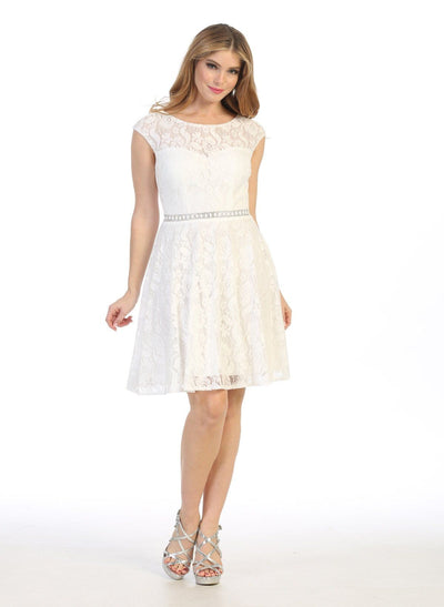 Short Floral Lace Dress with Cap Sleeves by Celavie 6417
