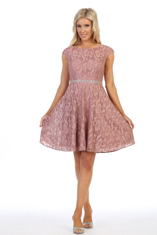 Short Floral Lace Dress with Cap Sleeves by Celavie 6417-Short Cocktail Dresses-ABC Fashion