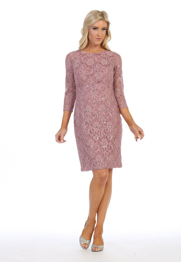 Short Floral Lace Dress with Sleeves by Celavie 6415-Short Cocktail Dresses-ABC Fashion