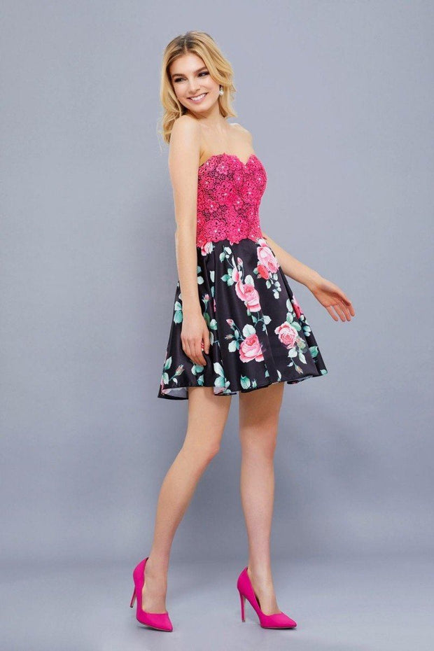 Short Floral Print Dress with Fuchsia Lace Top by Nox Anabel 6270-Short Cocktail Dresses-ABC Fashion