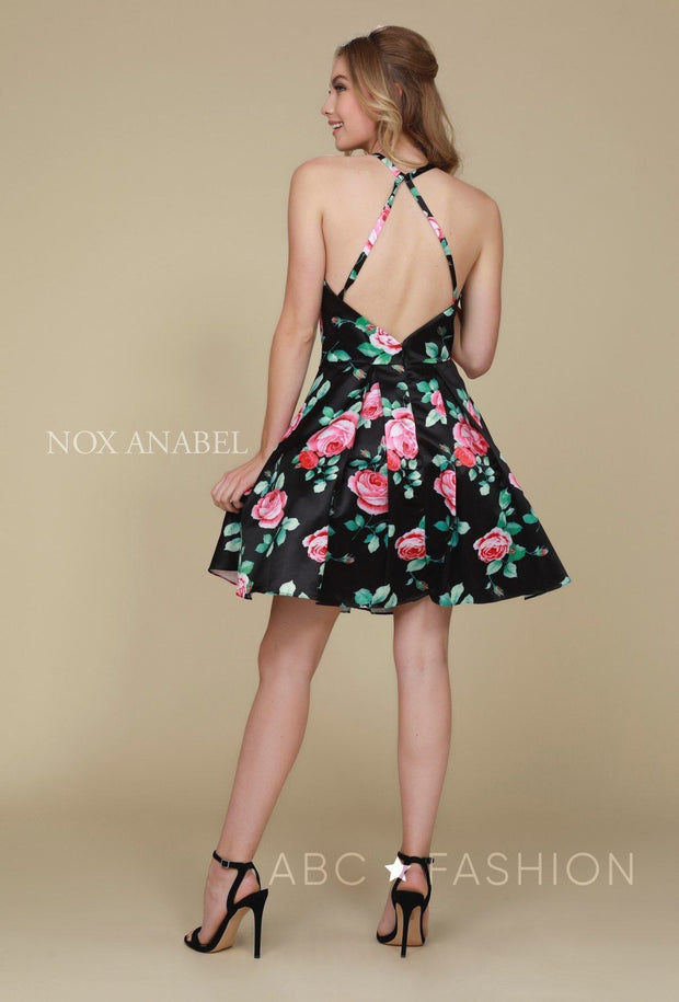 Short Floral Print Dress with Open Back by Nox Anabel Q602-Short Cocktail Dresses-ABC Fashion