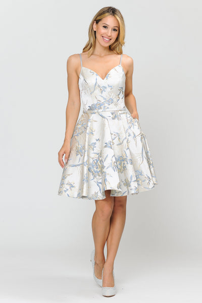 Short Floral Print Dress with Sweetheart Neckline by Poly USA 8508-Short Cocktail Dresses-ABC Fashion